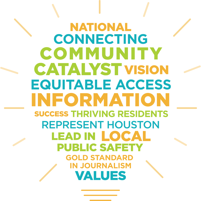 Lightbulb shape containing words: national, connecting, community catalyst, vision, equitable access, information, success, thriving residents, represent Houston, lead in, local, public safety, gold standard in journalism, values
