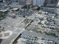 Parking lots where the development will be built