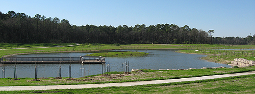recently completed detention basin along Halls Bayou in Keith-Wiess Park