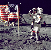 image of Gene Cernan as the last man on the moon