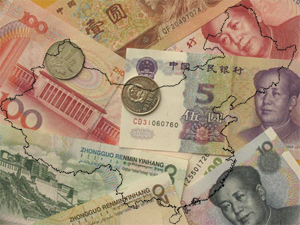 image of china map with money behind it