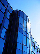 image of blue glass building