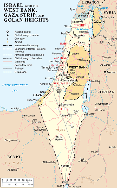 image of Isreal and West Bank map