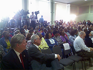 image of crowd attending the Peter Brown announcement