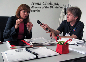 image of Irena Chalupa, the director of the Ukrainian Service, and Ed Mayberry