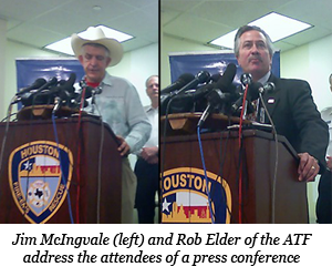 Jim McIngvale and Rob Elder of the ATF address the attendees of the press conference