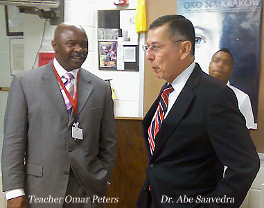 Teacher Omar Peters and Dr. Abe Saavedra