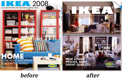 IKEA catalog before and after