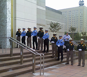 Officers outside of Co-Cathedral of the Sacred Heart