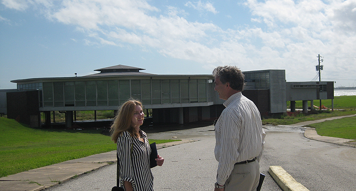 Kathryn Aguilar and Ted Powell in front of pavillion