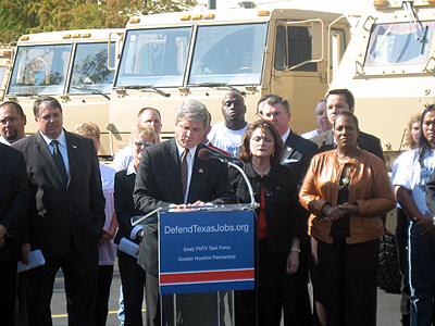 BAE Systems trucks and Congressman Mike McCaul