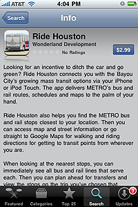 iphone app Ride Houston by Wonderland Development