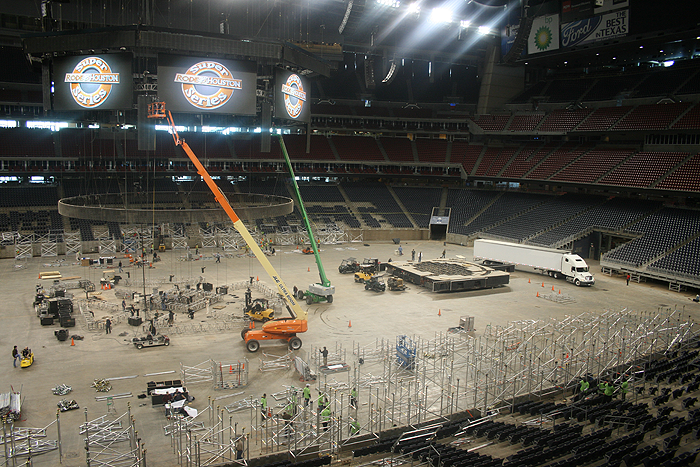 large scene of the Rodeo cleanup and the NCAA setup