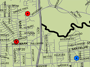 Pin Map of Houses Hit By the Clean-Up Crew
