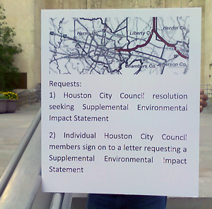 Sierra Club sign to City of Houston
