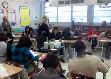 Students at Lee High School work intently