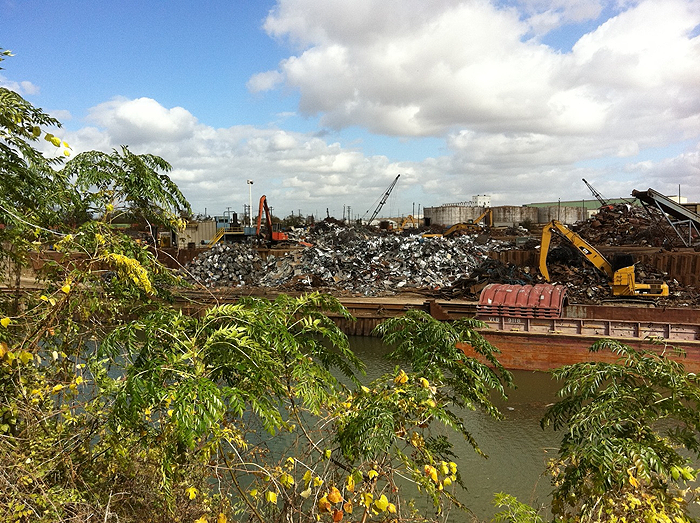 metal shredding facility along bayou