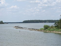 Because of the drought, a historic railroad bed has emerged from Lake Houston