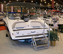Back of a boat at the Houston Boat Show