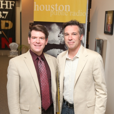 KUHF's Andrew Schneider with Kinder Baumgardner in the KUHF Studios