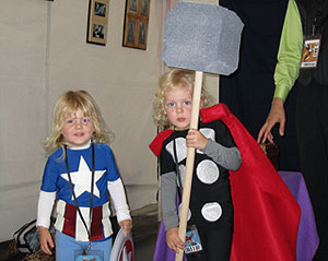 brothers dressed as Captain America and Thor