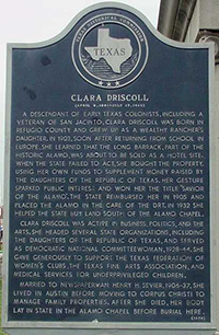 Historical Marker for Clara Driscoll (click to enlarge)