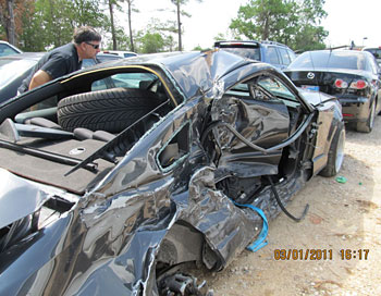 ford mustang after the accident.