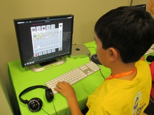 One of the students working on his game