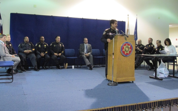 Sheriff Garcia during K9 honoring ceremony