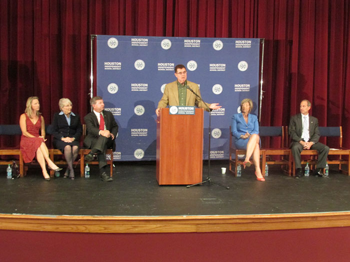 Terry Grier speaking at the podium