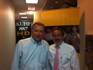 KUHF State Impact Reporter Dave Fehling and University of Houston's Law Center's Dean Richard Alderman.