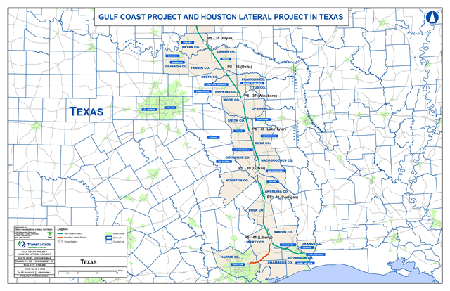 Keystone Pipeline Map Texas