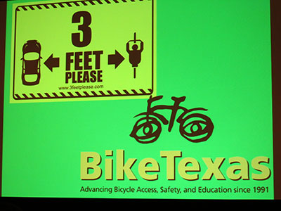 sign that states 3 feet space between bicyclist and automobile