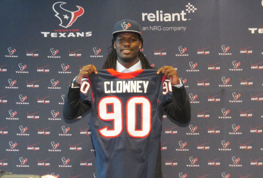 Clowney shows off his brand new Houston Texans jersey with the No. 90