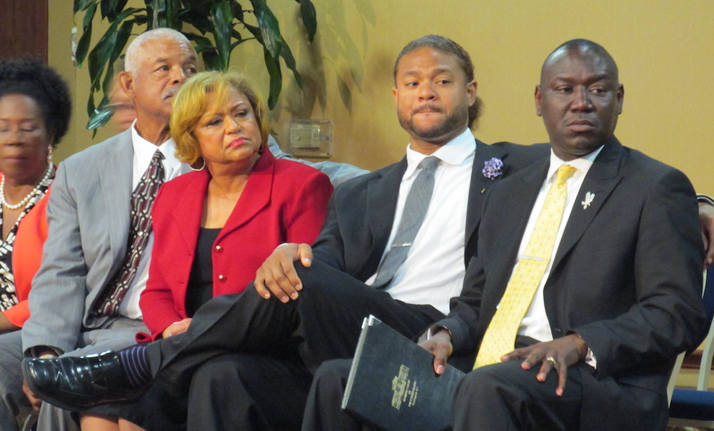 The Tolan family, from left: Bobbie Tolan, Marian Tolan and Robbie Tolan, hired civil rights attorney Benjamin Crump for their case against the Bellaire police officer who shot Robbie Tolan in 2008.