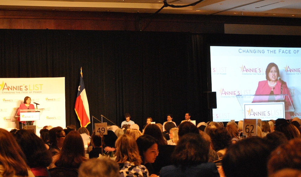 Democratic candidate for lieutenant governor Leticia Van de Putte speaks during the luncheon
