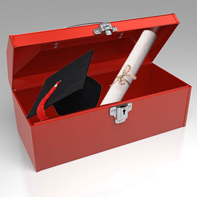 graduation red toolbox graphic