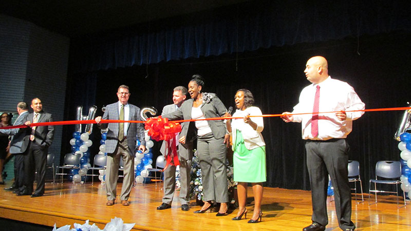 HISD trustee Wanda Adams, Superintendent Terry Grier and other school leaders inside the auditorium at Westbury High School