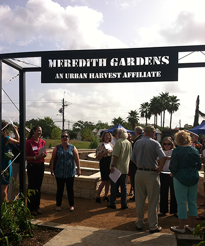 sign which reads Meredith Gardens an Urban Harvest affiliate