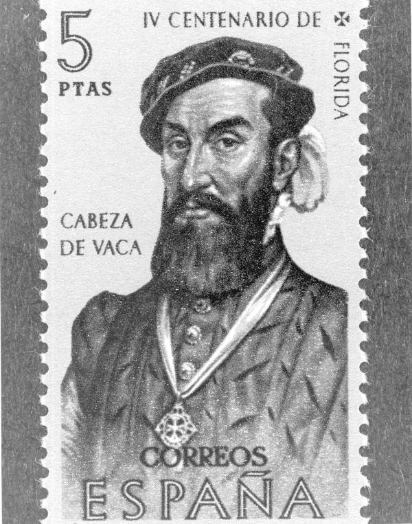 Painting of Alvar Nâuänez Cabeza de Vaca on postage stamp.