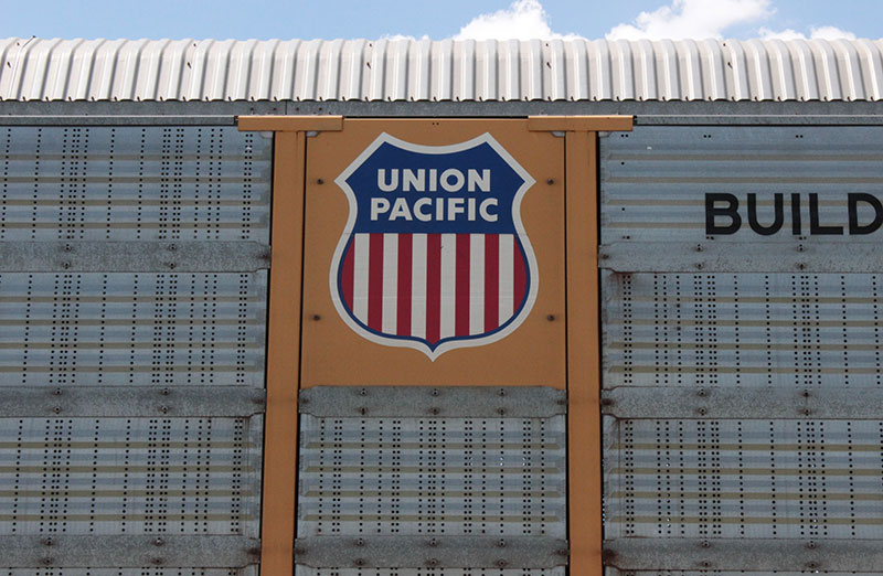 The side of a Union Pacific freight car
