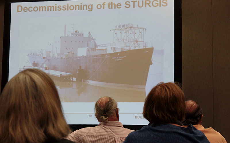 Corps presentation showing old photo of Sturgis
