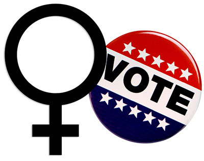 vote button with female symbol