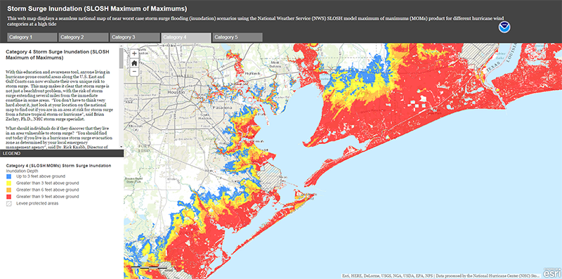 Noaa Flood Map NOAA Releases Interactive Storm Surge Map – Houston Public Media Noaa Flood Map