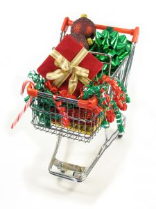 shopping cart with christmas wrapping