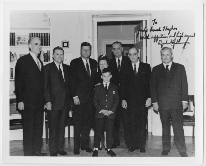 Hughes and other Texas judges with JFK and LBJ