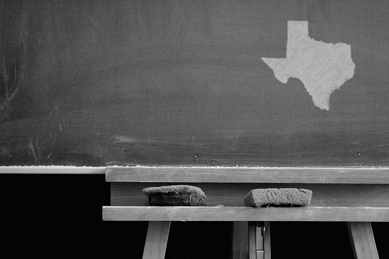 The state of Texas drawn on a chalkboard