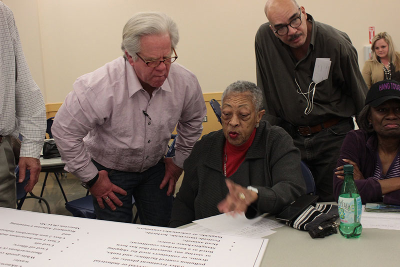 Dennis Williams talks with residents at TCEQ Hearing