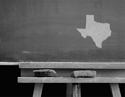 the state of texas drawn on chalkboard-