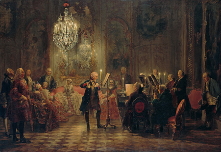 Frederick the Great performing on flute with violinist Franz Benda, Carl Philipp Emanuel Bach at the piano, and unidentified string players at his summer palace, painted by Adolph Menzel c. 1850-52.